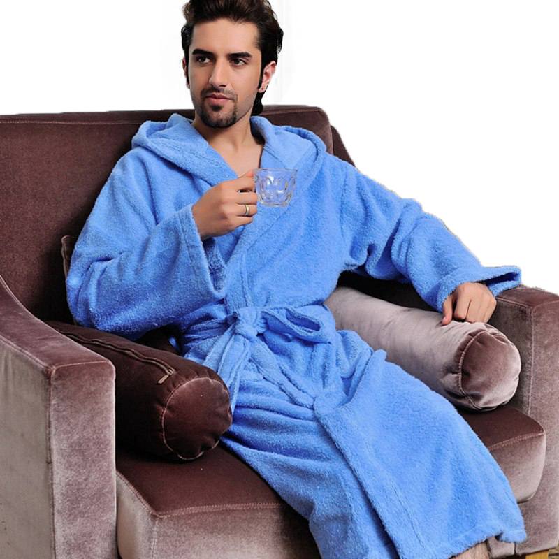 Hooded bathrobe men cotton women sleepwear nightgown mens towel fleece thick long soft autumn winter white home hotel summer