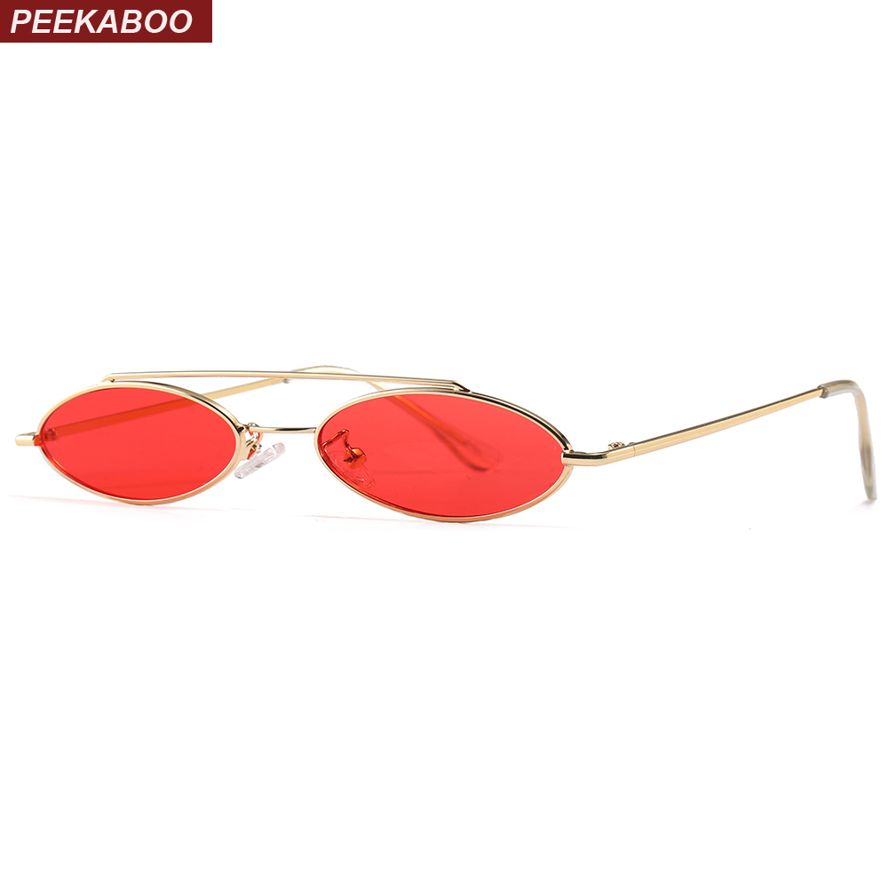 Peekaboo retro small oval sunglasses men 2018 summer red black flat top metal frame vintage sun glasses for women round uv400