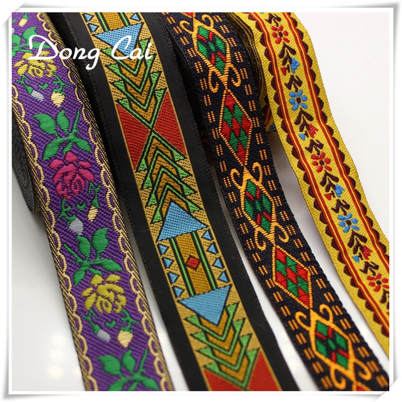 9yards/lot Embroidered Ethnic Jacquard Webbing Woven Tape Vintage Lace Ribbon Trim Collar Tribal Boho DIY Handmade accessories