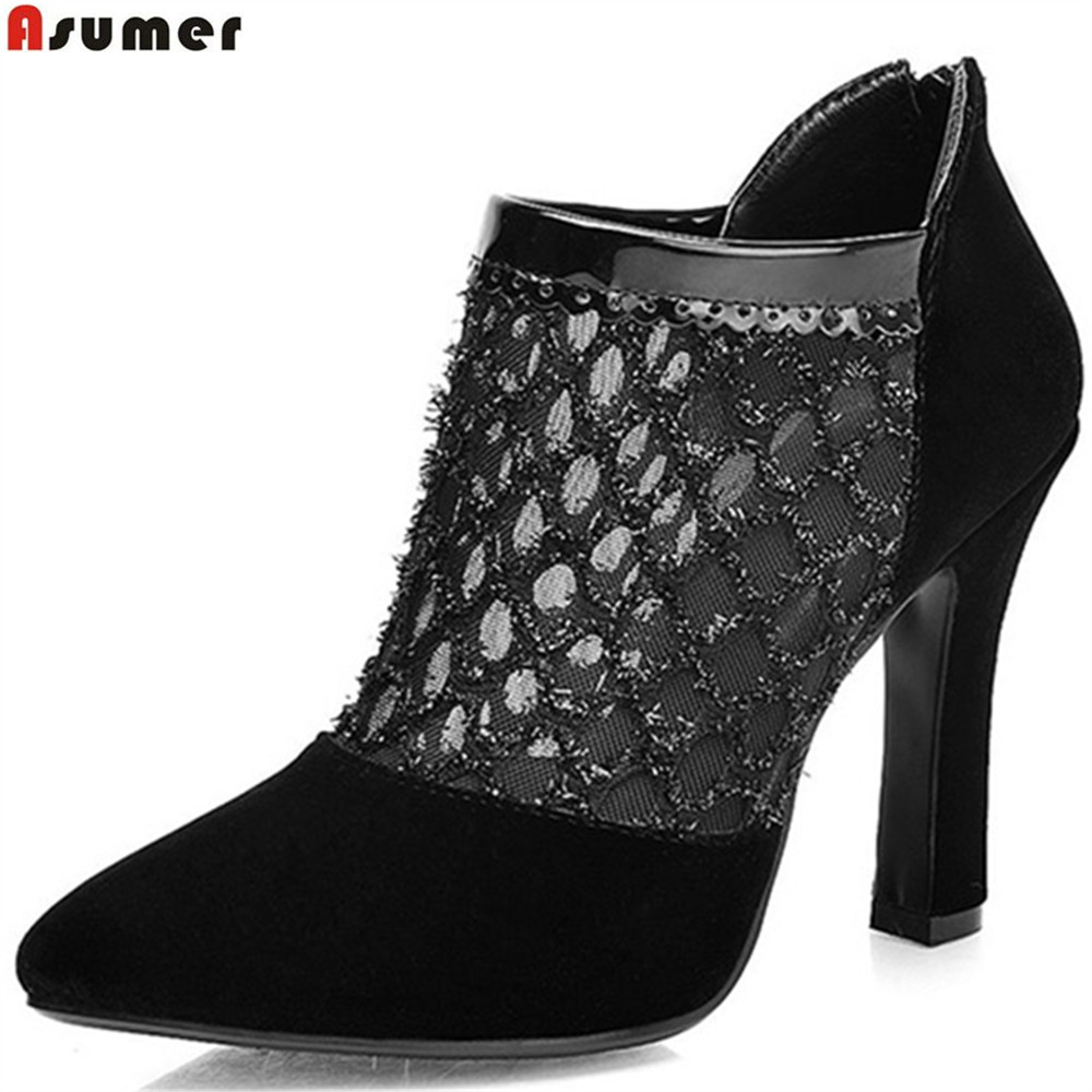 ASUMER black pointed toe zip spring autumn shoes woman sexy flock hollow out super high women high heels prom shoes spring autumn shoes woman pointed toe metal buckle shallow 11 plus size thick heels shoes sexy career super high heel shoes