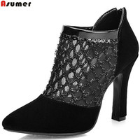ASUMER Black Pointed Toe Zip Spring Autumn Shoes Woman Sexy Flock Hollow Out Super High Women