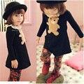Crianças Suportar casuais meninas vestido de bebê vestido da menina roupas Da Moda bonito Manga Comprida Ruffles falbala Pescoço de Tartaruga dos desenhos animados Vestido Emendados