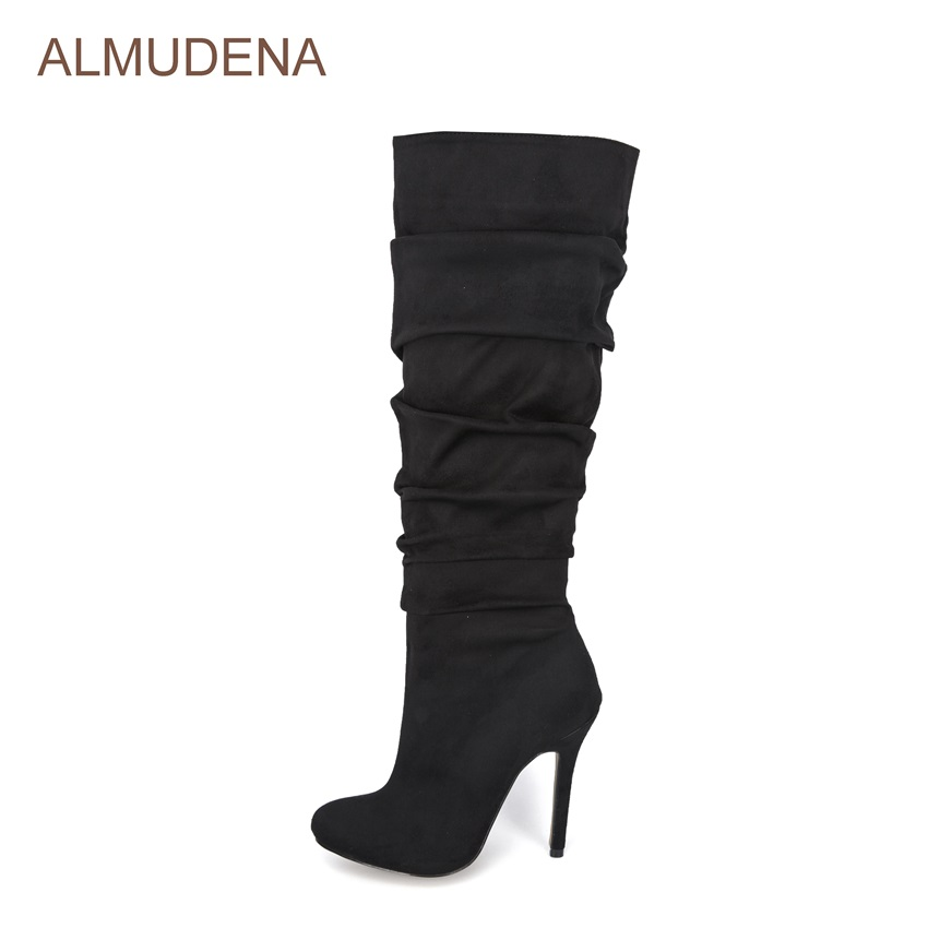 ALMUDENA Ladies Graceful Black Suede Knee High Boots Folded Design Sexy Thin High Heel Tall Boots Pleated Stylish Long Boots