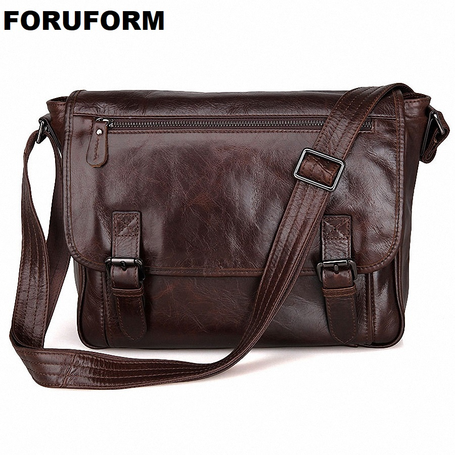 Men Genuine Leather Vintage Business Men's Travel Bags Tote Men Messenger Bags Briefcase 13 Inch Laptop Bag For Men LI-1764 choker neck cloak sleeve top