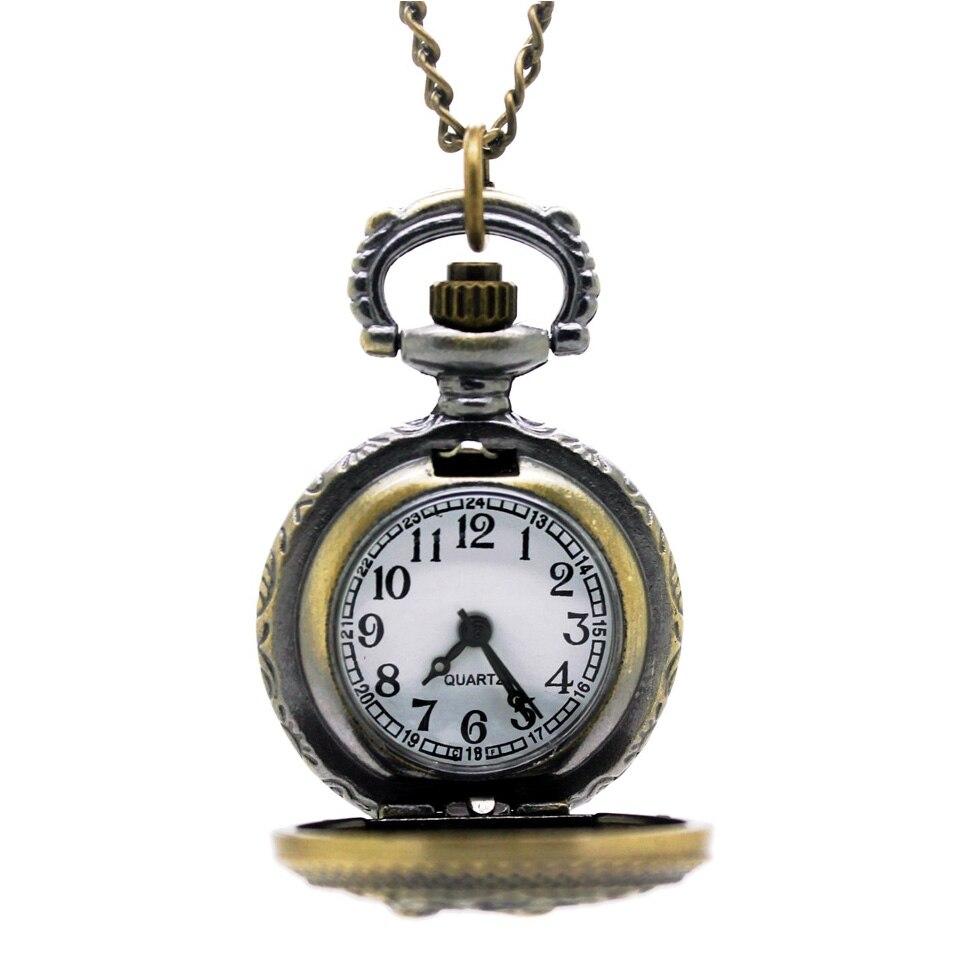 3014) Викторианский стиль винтажная бронзовая филигрань карманные часы ожерелье, 2,7 см 12 шт/партия