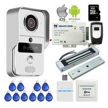Envío Libre RFID Inalámbrica Wifi IP Cámara de Vídeo de Intercomunicación Timbre para PC Phone Remote View Unlock + Cerradura Magnética 8G TF