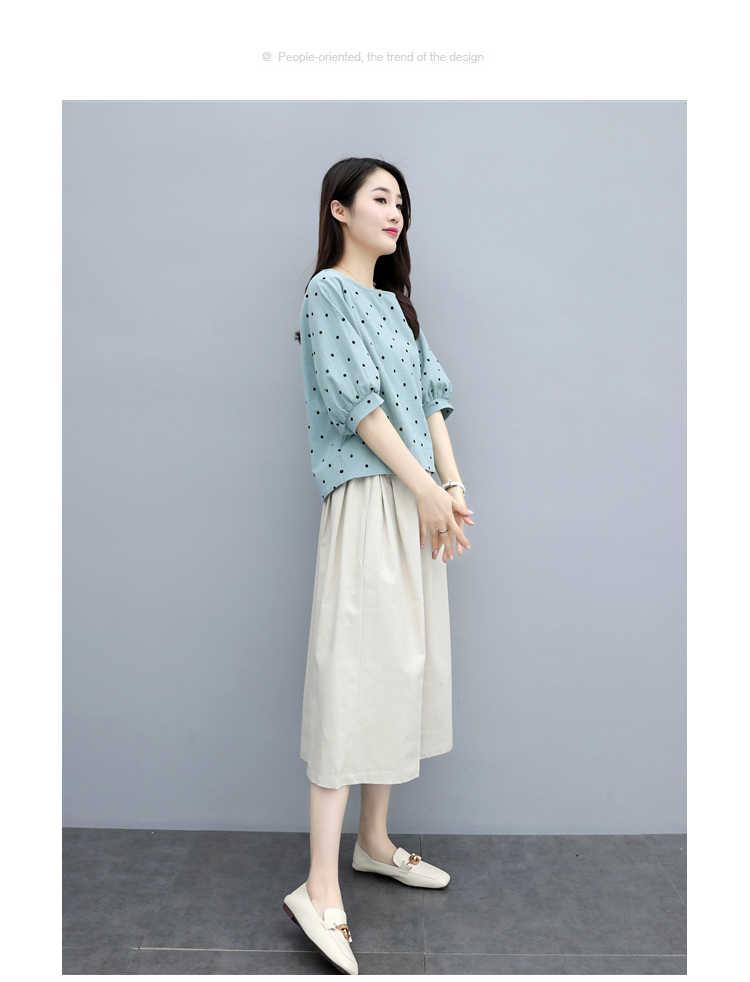 Verano de 2019 de algodón y lino vestido nuevo la versión coreana de gran tamaño flojo mujeres delgadas de vestido de dos traje de pieza de W440