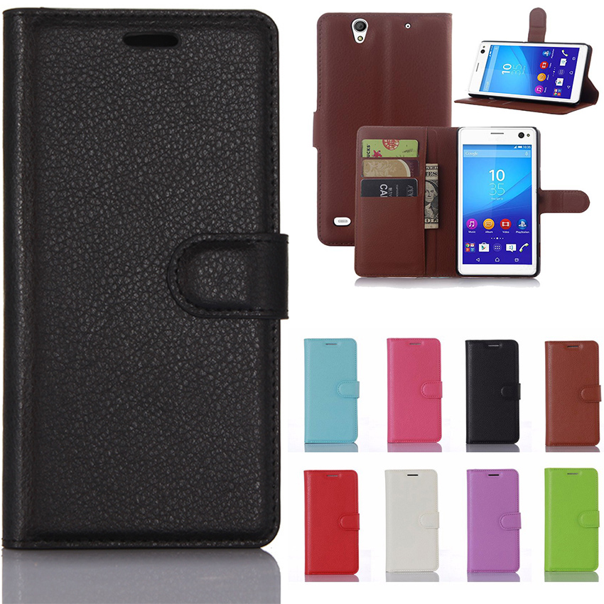 Wallet Case For Sony Xperia C4 Leather Flip Cover For Sony Xperia C4 E5303 E5306 E5353 C4 Dual E5333 E5343 E5363 Phone Coque