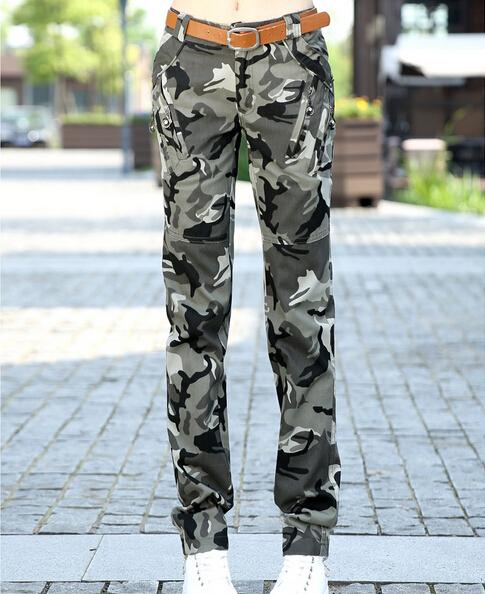 Calças de camuflagem Para As Mulheres Bolsos Com Zíper 2017 Nova Moda Das Mulheres Cotton Casual Calças Camo Multi-bolsos Frete Grátis