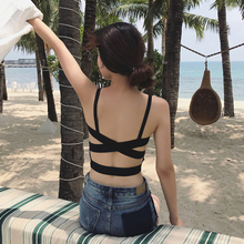 White Lace Up Backless Camisole Women Summer Beach Low Cut Female Cami Crop Top Sexy Sleeveless Short White Black Holiday Tees недорого