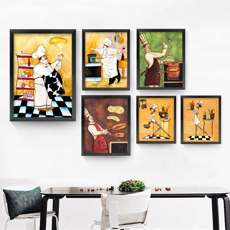 Pasta chef the restaurant personality cook oil painting bakery kitchen poster art wall print - Poster cuisine moderne ...