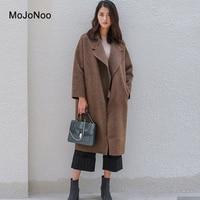 MOJONOO High Quality Camel Wool Cashmere Coat Women 2017 Ladies Winter Woolen Coats Long Elegant Cardigan