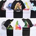 Palácio palácio skates t shirt das mulheres dos homens de verão de algodão tshirt skate marca clothing camisetas supremitied caixa logotipo top tee