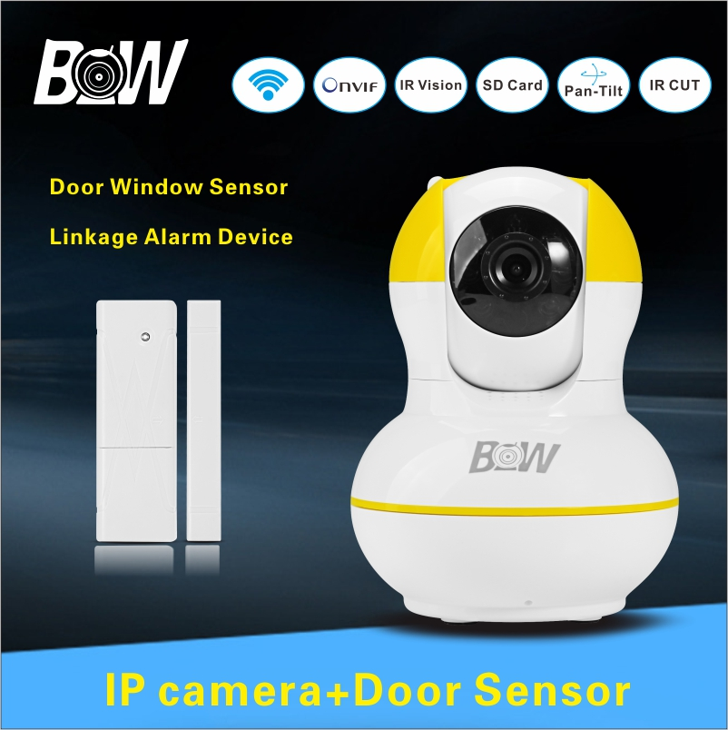 ФОТО 720P HD Network Wireless Camera IP + Door Sensor Alarm System Video Surveillance Indoor Security Camera WiFi Protection BW012Y