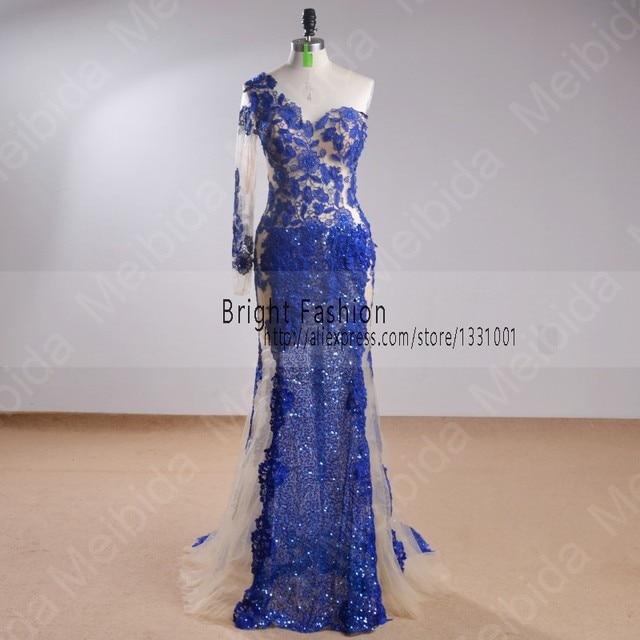 European Prom Dress Glitter Actual Image Sapphire Blue Prom ...