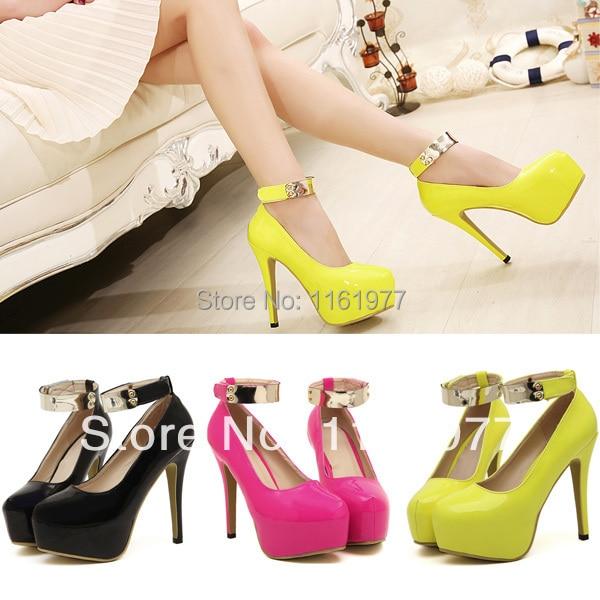 Neon Yellow Pumps.Nightclub High Heels.Shoelace Shoe.Lace Shoes ...
