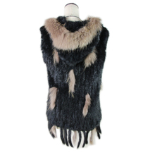 fashion rabbit fur vest raccoon trimming knitted with hood waistcoat gilet