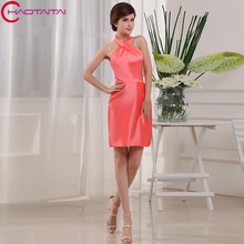 Bridesmaid Dress 2017 Formals Wedding Guest Satin Halter Shining Above Knee Sheath Backless Party Dresses