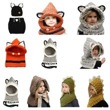 0dab45b7667 Kids Winter Crochet Knitted Hat Wrap Cartoon Animal Earflap Hood Scarf  Skull Cap(China)