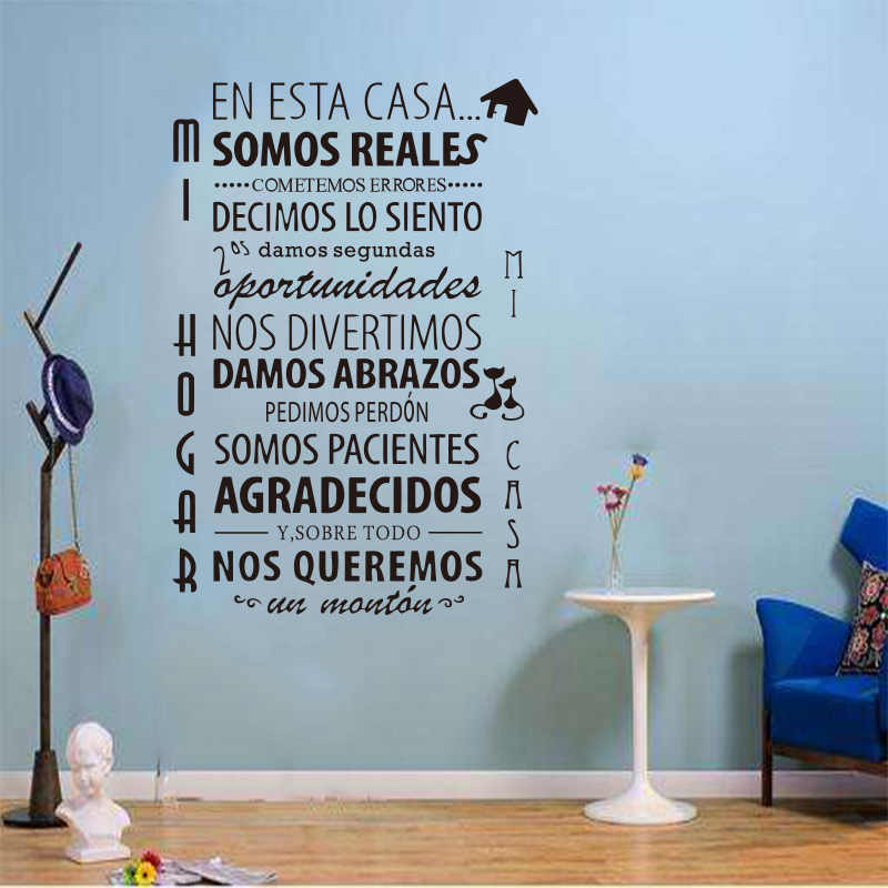 En The Use Of This House System Of The Spanish House Rules Wall Stickers Vinyl Mural Artist Home Decoration Stickers SP-018(China)