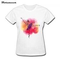 Novo Estilo de Moda Verão T Camisa de Algodão de Manga Curta T-Shirt Das Mulheres Camisetas T Impresso Dança Imagem WTW009