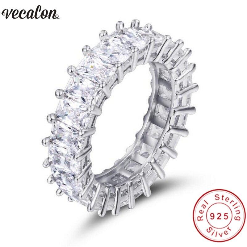 Vecalon Main Bandes De Mariage Anneau 925 Sterling De Princesse cut 5A Zircon Sona Cz bagues de Fiançailles pour les femmes Finger Bijoux
