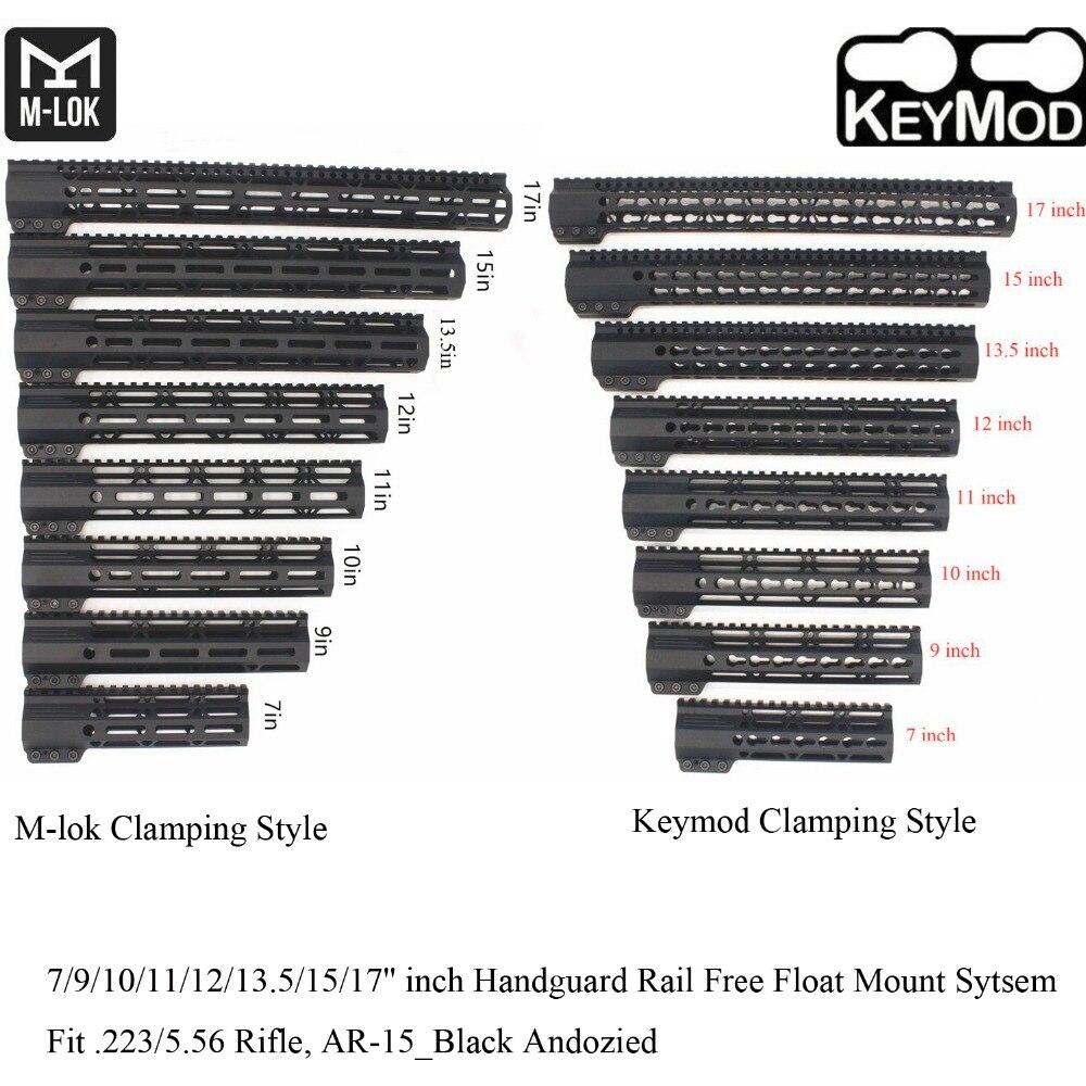 Aplus 7/9/10/11/12/13.5/15/17 ''pouces Keymod/m-lok Style de serrage garde-corps système de montage Picatinny Fit. 223_noir anodisé