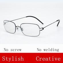 Square frame Screwless Alloy eyeglasses Ultra-light glasses frame myopia Reaging Oliver glasses Hand-made Oculos De Grau