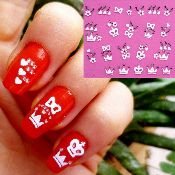 Nail 3d Art Stickers Decal White Flowers Bows Heart Crown Clear
