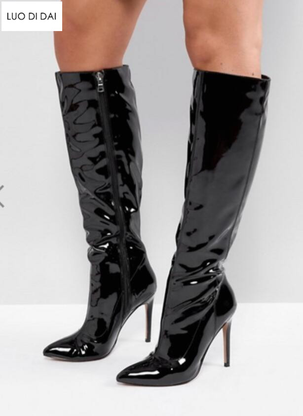 2019 Fashion Women Knee High Boots Patent Leather Boots