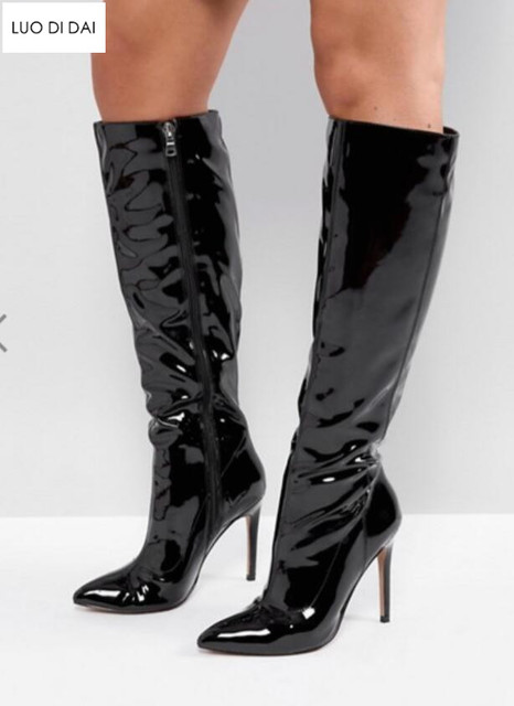 2019 fashion women knee high boots patent leather boots women pointed toe  booties thin heel black mirror leather boots ladies a2c0749f42