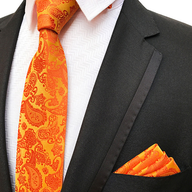 9c554b260602 Fashion Men's 100% Silk Tie Pocket Square Set Orange Paisley Neckties  Wedding Party Business Neck Ties 8CM Handkerchief 25CM