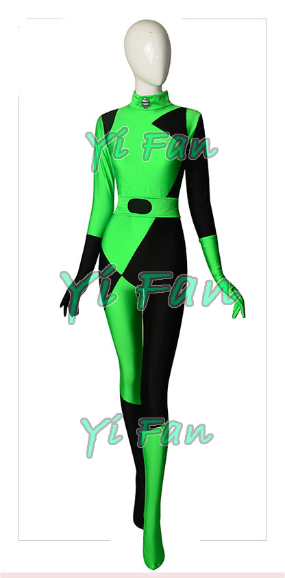 Shego Of Kim Possible Super Villain Costume Lycra Spandex Halloween Costumes for Woman Zentai Catsuit