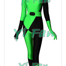 Shego Super Villain Costume Spandex Halloween Costumes for Woman Zentai Catsuit