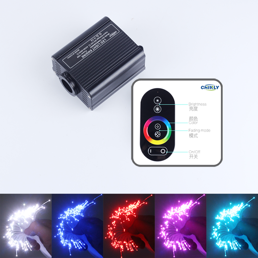 16W RGB LED Fiber Optic Light Engine Driver+RF touch Remote Controller for Christmas Decorations for Home rgb led 16w fiber optic light engine 4 key rf remote controller 500pcs 0 75mm 2m end glow pmma fiber optic cable
