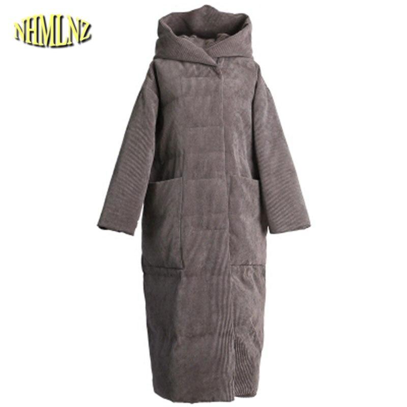 Nouveau Mode À Capuchon Tempérament Femmes Vers Le Bas veste 2019 D'hiver de Haute Qualité Moyen long Lâche Femmes Vers Le Bas veste LH118