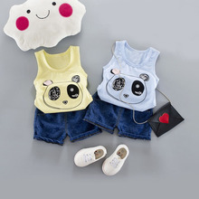 WYNNE GADIS Summer Baby Boys Panda Sleeveless Vest Tanks Tops + Denim Shorts Kids Casual Tracksuits Two Pieces Suits Infant Sets
