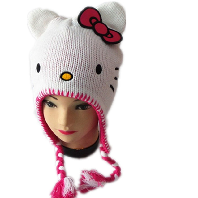 c6de02a9800 2018 New Winter Baby Hat Hello KT Cat Beanies For Children Cotton Photo  Photography Baby Cap Bow Gorro Beanie Hat For Girls kids