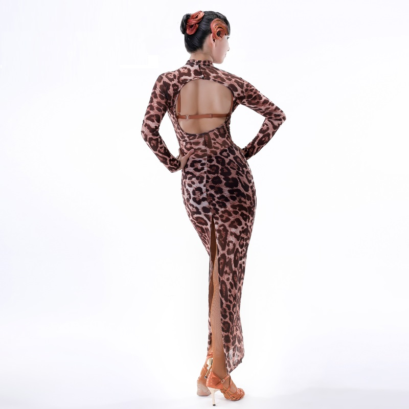 leopard cha cha dance dress women latin dress modern dance costume tango dress latin salsa dress samba costume dance wear