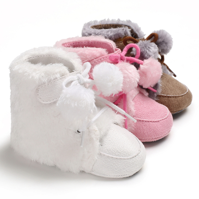 Baby Shoes Baby Boots Booties Baby Girls Boys Winter Soft Infant Warm Shoes  Bebe Infantil Fashion Cute Lace-up Pompom Footwear ae63e6509eb2