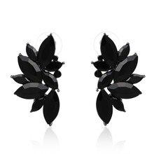 JURAN 2018 New Arrival Fashion Gem Crystal Leaf Stud Earrings For Women Fashion Brand Party Earings Jewelry Popular Gift E2205