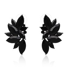 JURAN 2018 New Arrival Fashion Gem Crystal Leaf Stud Earrings For Women Fashion Brand Party Earings Jewelry Popular Gift E2205(China)