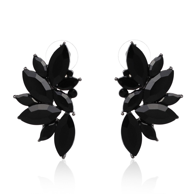 JURAN 2018 New Arrival Fashion Gem Crystal Leaf Stud Earrings For Women Fashion Brand Party Earings Jewelry Popular Gift E2205