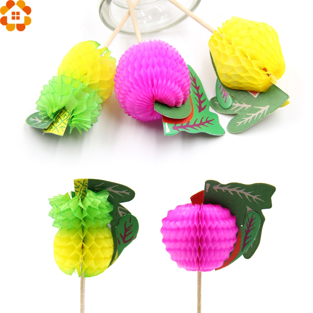 Colourful Fruit Cake: 20PCS Colorful Fruit Cake Topper Picks Party Favors For