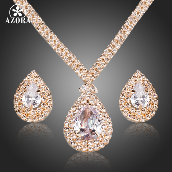 AZORA Gorgeous Gold Color Clear CZ Water Drop Pendant Necklace and Earrings Jewelry Sets TG0158