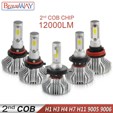 цены на BraveWay H1 Led Headlight for Car H7 LED Bulb H11 Lights for Auto 9005 9006 HB3 BH4 lamp H4 12000LM 6500K 60W 12V 24V Car Light в интернет-магазинах