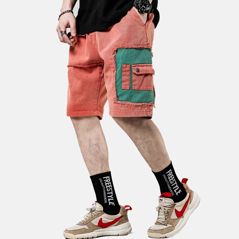 Streetwear Summer Casual Shorts Men Patchwork Fashion Cotton Cargo Shorts Bermuda Knee Length Men Short Pants