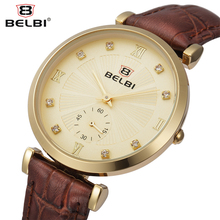 Belbi moda mujer reloj de cuarzo top marca de lujo de cuero genuino reloj de señora rhinestone de la venta caliente elegante reloj de pulsera de oro relojes