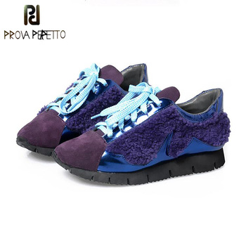 Prova Perfetto Korean Style Genuine Leather Mixed Color Wool Women's Casual Shoes Fashion Thick Bottom Lace Up Single Shoes Flat