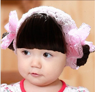Korean girls baby hair band wig hair curls with fake infant children Rose  Pictures section baby headband accessories hat cap b366b5083f3